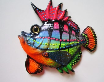 Whimsical fish home wall decor art sculpture