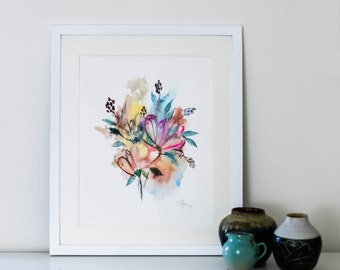 Abstract Floral Watercolor Original (11 in. x 15-1/4 in.)