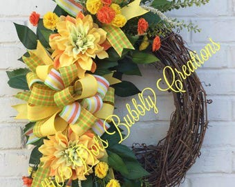 Spring/Summer Dahlia Floral Grapevine Wreath Floral Wreath, Summer Wreath, Spring Wreath, Grapevine Wreath (Ready To Ship)