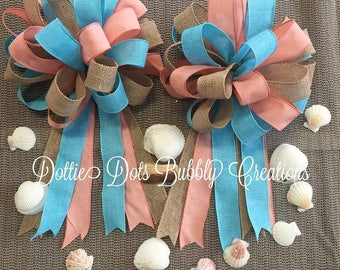Wreath Bows, Beach Bows. Coral Bow, Aqua Bow, Wedding Bows, Burlap Bows