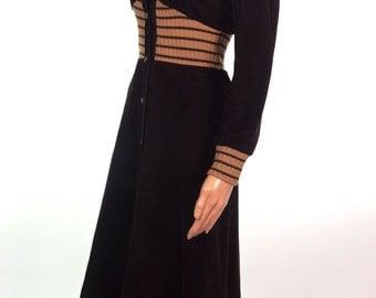 Adorable 70s Chocolate Corduroy Coat Dress In Size XXS-XS