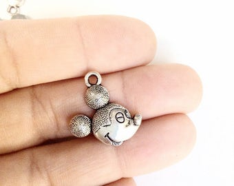10pc cartoon mouse charms antiqued silver color