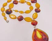 RESERVED FOR J Orange Brown Amber Plastic Pendant Fall Necklace Long Faceted Plastic 1960's Jewelry Autumn