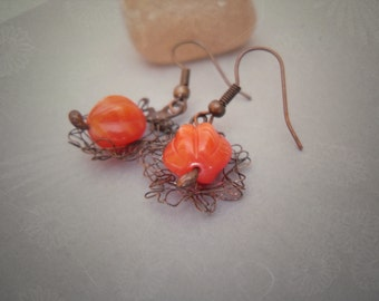 Wire earrings, gift for women, boho style, orange earrings, wire jewelry, bohemian jewelry, orange beads, Fuzzy