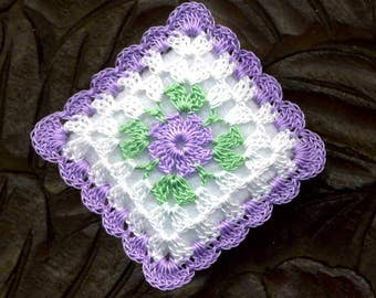 Dollhouse Miniature Pillow Cushion Lavender Flower White Background Crocheted Square Pillow Cushion