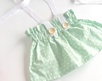 Mint Love Vintage Inspired Ruffle Waist Suspender Skirt, Suspender Shorts, Bloomers, Diaper Cover, Baby & Toddler Skirts