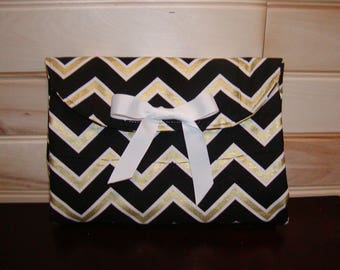Diaper clutch..Coral N Black-Gold Chevron..Match your carseat canopy(see fashionfairytales).