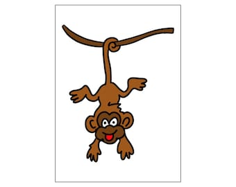 Monkey | printable miniposter A4 and US letter format | by-laura