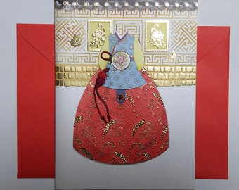 Court Lady Hanbok with a red knot Norigae - Hanbok Card - Korean Traditional Cloth Hanbok