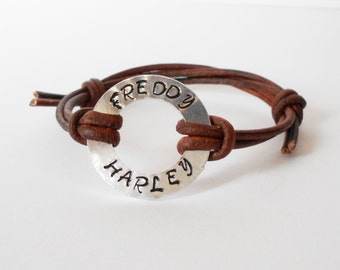 custom stamped leather bracelet, aluminium washer bracelet, personalised leather adjustable knotted bracelet, gift for him, gift for her