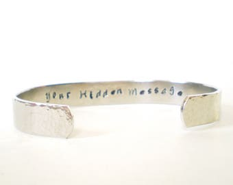 hidden message bracelet, 10mm hand stamped aluminum cuff, hammered aluminium cuff, personalised bracelet, customised cuff