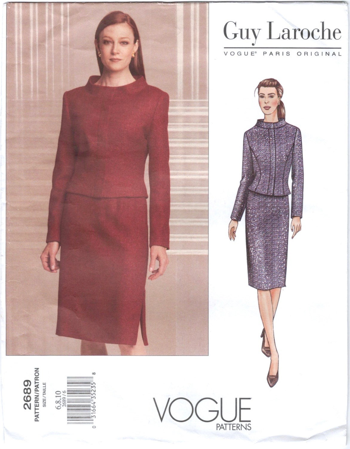 Fall 2001 Mei Xiao Zhou for Guy Laroche skirt suit pattern Vogue 2689