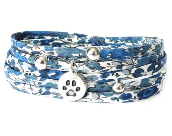 Loss of a pet gift for support, paw charm bracelet, stocking stuffer gift for dog lover, blue and white fabric wrap with animal charm