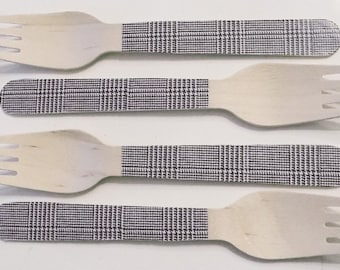 """Black """"Tweed"""" Wooden Forks, Spoons or Knives - Set of 20"""