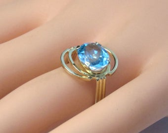 Sale! 18K Blue Topaz Yellow Gold Ring, One Of A Kind, Vintage, Custom, 2.50 Carats, December Birthstone