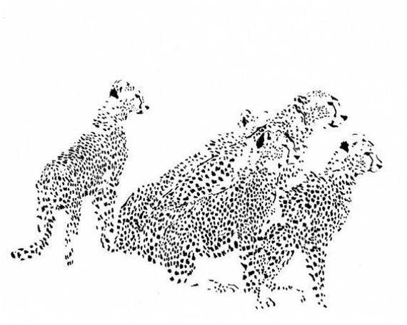 5 Cheetahs - Ink Sketch, Ink Drawing, Pen and Ink, Black and White, Fine Art Print, Giclee, Original Art, African, Spots, Animal Print