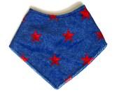 Baby Bandana Bib - SALE - Blue Red Stars Bibdana - Americana Bib - Patriotic Military Gift - American Flag Bib - USMC - Gifts for Marines