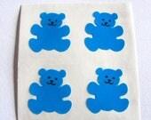SALE Rare Vintage Sandylion Neon Blue Teddy Bear Stickers - 80's Scrapbook Collectible