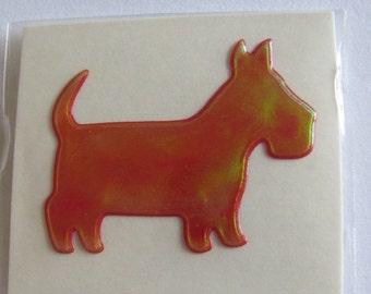 ON SALE Rare Vintage Oilie Liquid Scotty Dog Sticker - 80's Oily Iridescent Scarlet Cherry Chartreuse Scottish Terrier Scottie Puppy