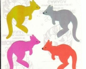 ON SALE Vintage Sandylion Pearl Finish Kangaroo Stickers 80's Opal Rainbow Roo Australia
