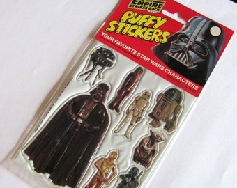 ON SALE Rare Vintage Topps Empire Strikes Back Puffy Sticker Sheet Package - 80's Star Wars NIP Collectible Comic R2-D2 Darth Vader Yoda