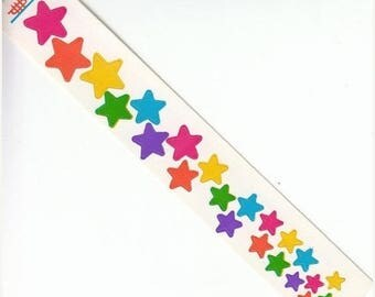 SALE Vintage Cardesign Toots Tumbling Rainbow Stars Sticker Strip - Retro 80's Star Scrapbook