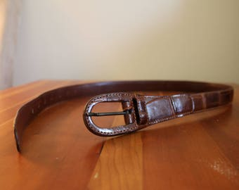 Small Brown Alligator Belt by Saks Fifth Avenue