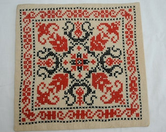Black and Red Crosstitch Tapestry