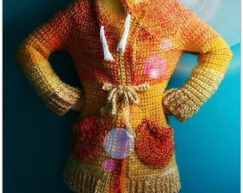Crochet Jacket,Knit Sweater,Knitwear,Jumper,Duster Coat,Cloak,Womens Clothing,Medium,Handmade,Yellow,Red,Orange,White,Toggle,Fringe,Pockets,