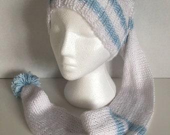 Knitting Stocking Cap with Pom Pom White with Blue Stripes Warm Hat Toboggan