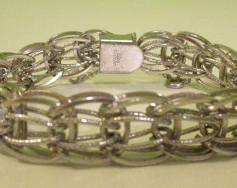 "Vintage Sterling Silver Elco Charm Bracelet 7.25"" Small Wrist Large LInks"