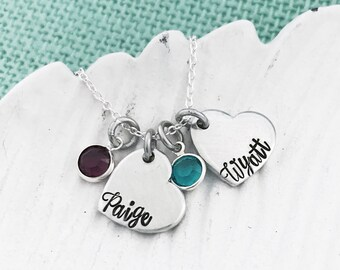 Customizable Hearts Necklace 1-8 Names Stamped with Swarovski Birthstones - Hand Stamped by Eight9 Designs