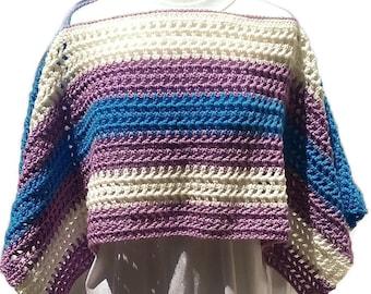Colorful Poncho, Springtime Poncho, Boho Chic, Gift for Her, Crochet Poncho, Women Poncho, Multicolor, Stylish Poncho, Women Accessory