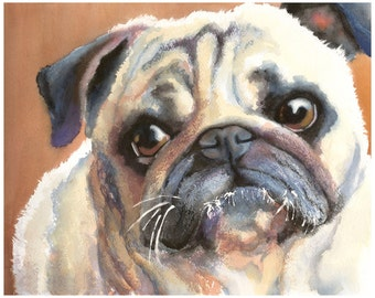 "8x10"" Pug Watercolor Giclee Fine Art Print [Watercolor Dog Portrait Print, Pug Print, Dog Art, Watercolor Art, Pug Art Print]"