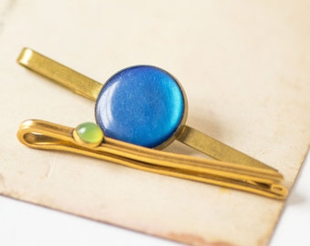 Brass tie clips set 2, round decor retro clips for gent, gold navy green shades tie clips, small clips, classical simplicity tie clips gift