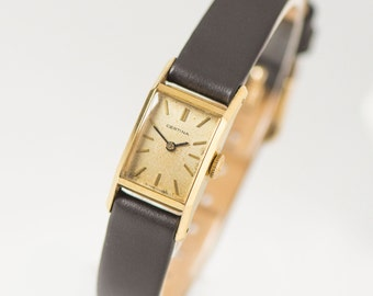 Women Certina watch, gold plated AU 20 lady watch, rectangular woman watch, bride gift, classical retro timepiece, new premium leather strap