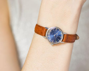 Women's Eterna Matic model Sahida watch, automatic lady's watch, navy face retro watch, classical timepiece gift, premium leather strap new