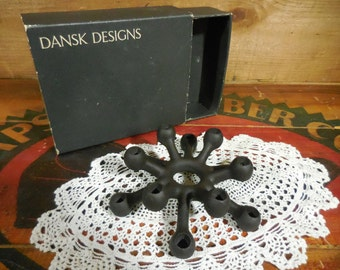 Vintage Dansk Cast Iron Candle Holder in original box