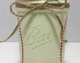Boys Baseball Mason Jar, Hand Painted Baseball Mason Jar, Baseball Coach gift, Baseball Birthday gift, Baseball Team Gift, Father's Day