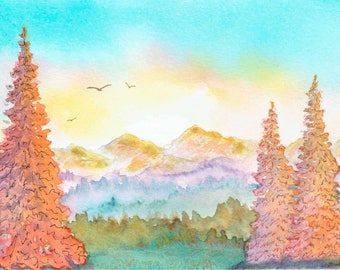Watercolor Print, Walking through the Woods 4, Wall Decor