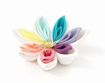 Rainbow Fascinator - Rainbow Wedding Kanzashi Flower - Wedding Hair Flower - Pastel Rainbow - Rainbow Hair Accessory - Hair Clip -