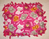 SALE Fleece Tie Pet Blanket for Cats or Small Dogs - Hot Pink Cat and Birdcage