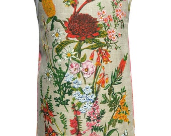 Metro Retro 'Australian Wildflowers'  Vintage Tea Towel HANDMADE Cook's kitchen Apron -  Mother's Day  Birthday Gift  - OOAK