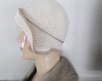 Crochet Cloche Hat Downton Abbey Bonnet Cloche Pure Wool Vintage 1930s Style