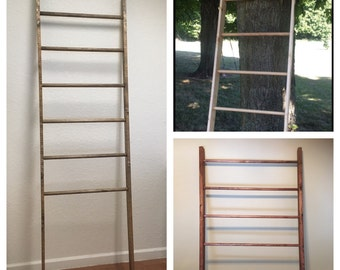 wood blanket ladder• wood quilt ladder • wood towel ladder • vintage look ladder • vintage look pot rack • handcrafted ladders with round ru