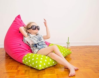 Watermelon Kids Bean Bag - Bright Pink and Green Dots Fabric Pouf for Children - Printed Canvas and Leatherette Child Seat