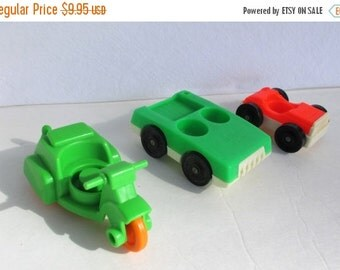 New Years SALE 40% OFF 3 Vintage Fisher Price Toy Play Vehicles...Jeeps, Motorcycle