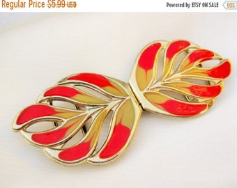 MAY SALE 20% Off CLEARANCE~Vintage Red and Cream Enamel Belt Buckle, Made in Korea