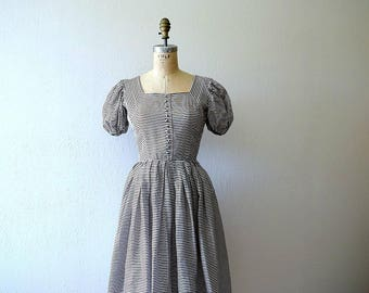 1950s vintage dress . striped 50s dress . xs