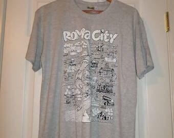 Vintage Rome T shirt Xlarge XL Gray Roma 100% Cotton